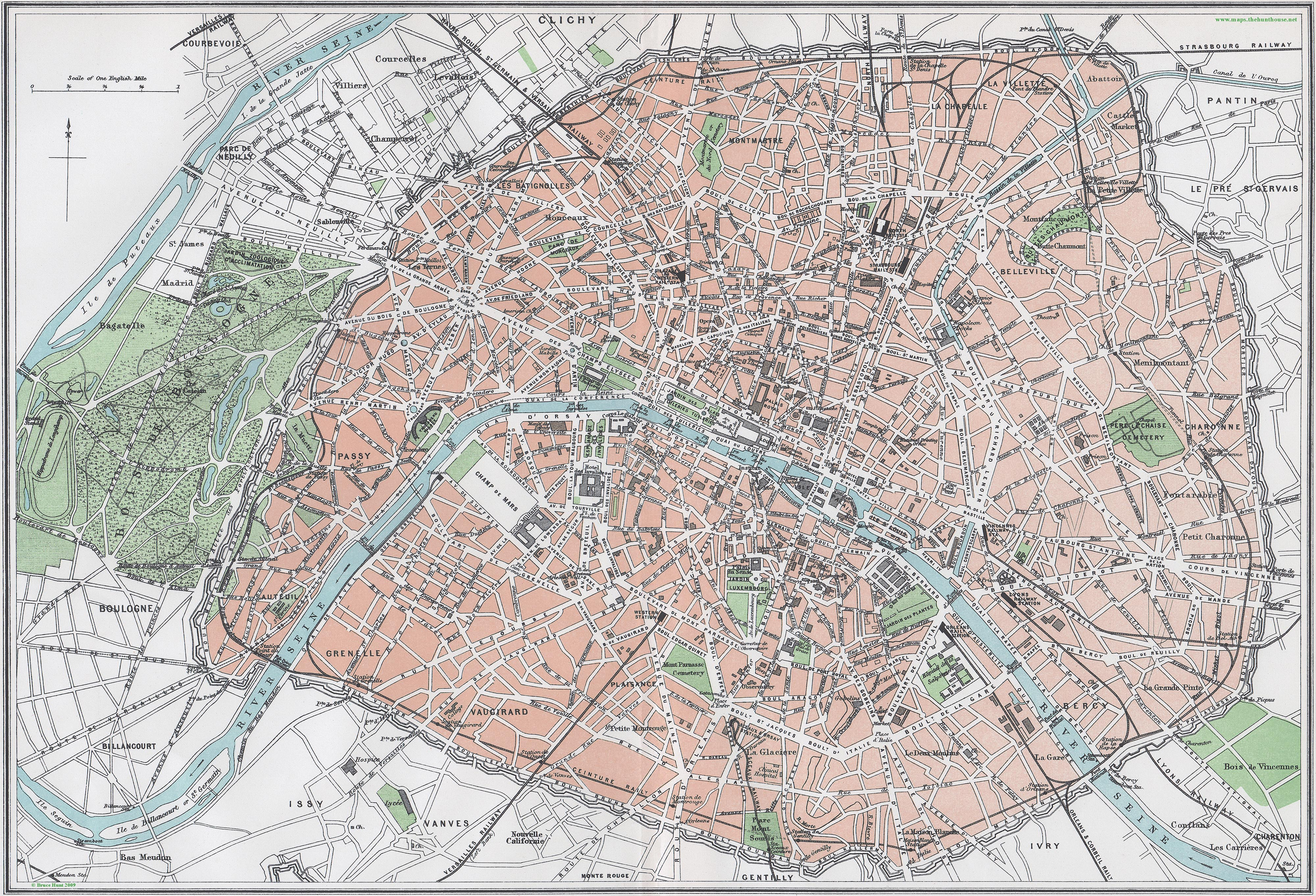 Street Map of Paris circa 1879